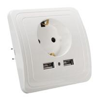 ingrosso pannelli a doppia parete-Freeshipping Nuovo arrivo 5V 2A Dual USB Porta caricatore da parete Adattatore Presa di corrente UE Presa di corrente Pannello di alimentazione