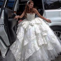 Wholesale Beads Wedding Dress Layers - Luxury Ball Gown Wedding Dresses Heavy Beading Lace Tiered Strapless Bridal Gowns Tulle Layers 2018 Custom Made Dubai Wedding Dresses