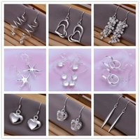 Wholesale Earing Mixed - Mix style 925 sterling silver plated dangle earing Small Solid Heart crown starfish charm Earrings for women jewelry