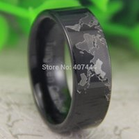 Wholesale Uk Maps Free - Free Shipping USA UK Canada Russia Brazil Hot Sales 8MM Black Pipe Unique World Map Design Men's Fashion Tungsten Wedding Ring q170717