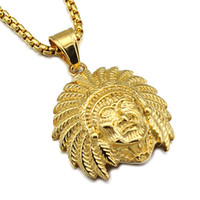 Wholesale India Stainless Jewelry - MCW Punk Casting Gold Color Titanium Stainless Steel India Chief Big Skull Pendants Necklaces for Men Jewelry