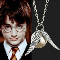 Wholesale Sweater Chain Necklaces Cheap - Harry Potter necklace snitch silver wing necklaces pendant link chains sweater chain necklace jewelry cheap wholesale gifts