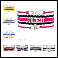 Wholesale Mlb Team Baseballs - Fashion Custom-Infinity Love Softball Charm Bracelet Wraps Braided MLB Leather Bracelet Bangles Chain for Baseball Team Fans