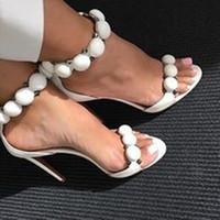 elegantes sandalias de tacón al por mayor-De calidad superior 2017 calle con estilo pom poms tachonado remaches sandalias de gladiador mujeres stiletto tacón alto zapatos de fiesta correa del tobillo mujer