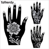 Wholesale Sheets For Glitter Tattoos - Wholesale-6pcs Henna Tattoo Stencils Indian Wedding Airbrush Glitter Lace Flower Hand Foot templates For Body Painting Tattrendy sheets