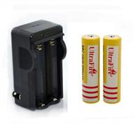 lithium-ionen-scheinwerfer großhandel-2XUltraFire 18650 3,7 V 5000 mAH Lithium-akku Gelb, BRC18650 Li-Ion-akkus Mit ladegerät Für Taschenlampe Scheinwerfer