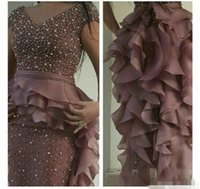 Wholesale Long Sleeved Peplum Dresses - 2017 Prom Dresses Rusty Purple Pearls Beaded Sheath V Neck Cap Sleeved With Ruffled Organza Skirt with Peplum and Back Split Evening Gowns