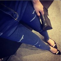 Wholesale Cheap Female Jeans - Wholesale- 2017 Cheap wholesale Spring Summer hot selling fashion hole women Jeans female brief elastic skinny pants pencil trousers