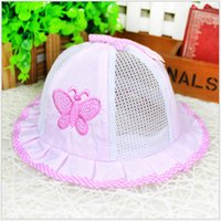 Wholesale Toddler Sun Hat Wholesale - Hot Selling Newborn Anti-sun hats Girls Boys Summer Visor Caps Trendy Baby Toddler Butterfly Bowl Hat Cotton Mesh Breathable Cozy 0-12M