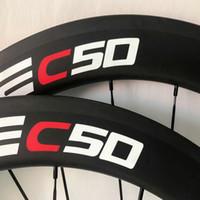 Wholesale Cheap Bike Hubs - Free shipping 3k or UD 50mm full carbon wheelset 700c clincher road bike wheels china cheap wheels calliper wheels 23mm with bearing hubs