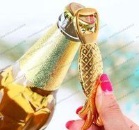 Wholesale Groom Bridal Favors - 2017 new Alloy Gold Pineapple Beer Bottle Opener Bridal Wedding Favors And Gifts Baby Shower Baptism Christmas Gift groom souvenir MYY