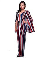 Wholesale Ladies Animal Print Jumpsuits - Wholesale- Women Cape Cloak Strips Jumpsuits 2016 Lady Sleeveless Backless Jumpsuit Wide Leg Playsuits One Piece Overalls V-Neck Rompers