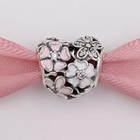 authentische silberne schmucksachen großhandel-Authentische 925 Sterling Silber Perlen Poetic Blüten Charme passt europäischen Pandora Style Schmuck Armbänder Halskette 791825ENMX