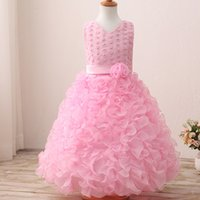 Wholesale Bridesmaids Kids Gowns - children pink lace prom dress long dresses wedding bridesmaid formal dresses kids birthday party lovely gift flower beaded flower dresses
