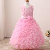 Wholesale Kids Bridesmaid Dresses Beaded - children pink lace prom dress long dresses wedding bridesmaid formal dresses kids birthday party lovely gift flower beaded flower dresses