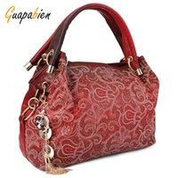 Wholesale lady gray handbags resale online - Guapabien Fashion Brand Wedding Women Bag Ombre Shoulder Bags OL Party PU Leather Tote Bag Red Gray Hollow Out Ladies Handbag