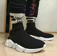 Wholesale Rubber Floor Sock - 2017 New Men and Women Designer Shoes Paris Famous Brand Speed Trainer Mid Black White Top Quality Sneakers Mens Sock Shoes Free Shipping