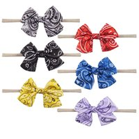 Wholesale Bow Tie Styles For Girls - 6 Style Available Soft Fabric Silk Head Ties Nylon Headband With Cute Bows For Toddle Girl Infant Elastic Hairband