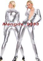 fermeture éclair zentai avant achat en gros de-New Silver Shiny Métallique Body Catsuit Costumes Sexy Avant Zipper Body Suit Unisexe Cosplay Costumes Outfit Halloween Cosplay Costume M071