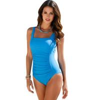 Wholesale Swim Suit Padded - 2017 New One Piece Swimsuit Women Plus Size Swimwear Large Size Vintage Retro Padded Beach Bathing Suits Swim Wear 4XL