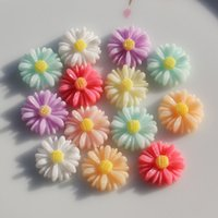 Wholesale Resin Flower Embellishments - 100pcs Resin Plastic Daisy Flower Embellishments Flower Cabochon For Jewelry Making Findings 13MM