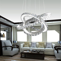 Wholesale Crystal Ring Chandelier Light - Modern LED Crystal Chandelier led Ring Diamond K9 Pendant lamps lighting For Beach House Bedroom Dining Room AC110-240V LED SMD Crystal Ce