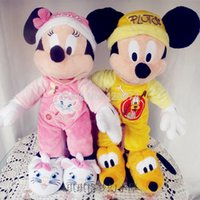 Wholesale Marie Cat Toy - Wholesale- New Minnie in Marie Cat Mickey in Pluto Pajamas Plush For Girls 45CM Kids Stuffed Toys Children Gifts