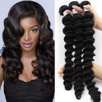Wholesale human hair wefts deep waves resale online - Unprocessed Brazilian Human Remy Virgin Hair Loose Deep Wave Hair Weaves Hair Extensions Natural Color g bundle Double Wefts Bundles