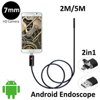 Wholesale Mobile Hd - 2In1 AN99 5M 2M Android USB Endoscope HD Camera 7mm IP67 Walterproof Snake USB Camera HD 480P Android Mobile USB Borescope