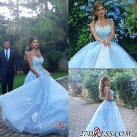 Wholesale Baby Blue Sleeveless Dress - 2018 New Gorgerous Baby Blue Evening Dresses Long Tulle With Lace Appliques Prom Dresses Sleeveless Floor Length Party Gowns