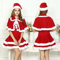 senhoras vestido com capuz venda por atacado-Novo mascote mulheres vestido de natal sexy ladies clothing set venda de natal de pelúcia com capuz papai noel mulheres clothing set