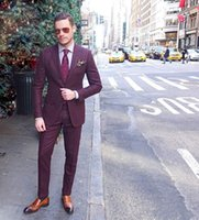 Wholesale Cheap Quality Mens Pants - High Quality Burgundy Cool Mens Suits Slim Fit Groom Wedding Tuxedos Cheap Two Pieces Custom Made Suit (Jacket+Pants)