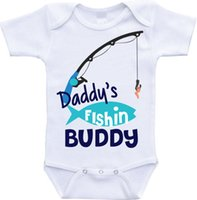 Wholesale Custom Baby Boy Outfits - Daddys fishing buddy Onesie Daddys Buddy outfit baby fishing onesie baby girl onesies for boy custom baby shirt