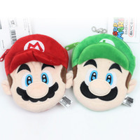Wholesale 12cm Baby Dolls - 2 Style 10*12cm MARIO And LUIGI Super Mario Bros Plush Doll Coin Bag Keychain Pendant Stuffed Toys For Baby Good Gifts