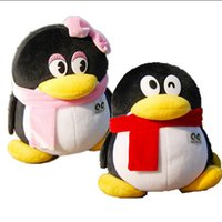 Wholesale Cute Couple Toys - Wholesale-20cm Tencent QQ Couples Plush Toys Cute Staffed Penguin Doll Kids Toy Birthday Gift Wedding Dolls