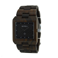 Wholesale Wooden Pointer - Men's Wooden Watch Square Face Black Sandalwood Casual Cool Wristwatch Three Luminous Pointers for Sports and Travel Hot Sell Bewell - NEW
