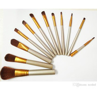 Wholesale High Quality Cheap Cosmetics - Cheap 12 pcs Makeup Brushes Set Facial Brush Powder Contour Foundation Natural Make Up Tool Brush Cosmetics Gold Fan Brush Gift High Quality