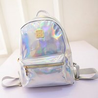 Wholesale Valentine Backpack - Wholesale- Designer's Backpack Hot Sale Women's Hologram Backpack Student's Shoulder Bag Backpack Laser Silver Rainbow Bag Valentine