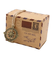 Wholesale Chinese Mail - 100pcs Kraft Paper wedding Candy Boxes Vintage Mail candy Box Gift with Globe and Compass For Guests Party Decoration Wedding Supplies