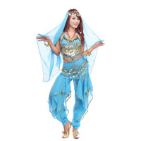 Wholesale Oriental Women Dress - 2016 Oriental Bollywood Indian Dress 4PCS Pants&Hip Scarf Belt&Top Belly Dance Costume Set Chiffon Vestidos Phnom Penh Bloomers