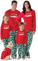 Wholesale Christmas Nightwear Children - 2017 Christmas Kids Adult Family Matching Pajamas Set Xmas Deer Snowman Parents Child Sleepwear Nightwear bedgown 6 Designs