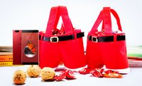 Wholesale Christmas Pouch Pants - 2017 Christmas gifts Santa Claus Pants Style Xmas MEDIUM Red Candy Wine Hands Bag Basket Pouch Party Decoration For christmas decorations