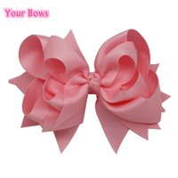 Wholesale Light Pink Hair Bow - Wholesale- Your Bows 1PC 5 inches Baby Hair Bows 3 Layers Solid Light Pink Hair Clips Boutique Ribbon Bows For Girls Hair Accessories