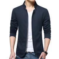 Wholesale Mens Short Coat Khaki - Wholesale- Hot sale Jacket men bomber thin slim mens coat navy khaki black colors