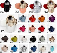 Wholesale Walking Shoes Infant Toddler Leather - No Lead Included New Genuine Leather Baby Moccasins Cow Leather Double Colors Tassels First Walking Shoes Soft Sole Infant Toddler Shoes