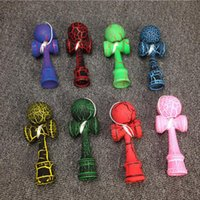 Wholesale Wholesale Wooden Swords - 12.5*3.8cm Full Crack Kendama Professional Wooden Toy Skillful Juggling Ball Japanese Traditional Sword Ball Wood Game Ball Educational Toys