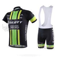 Wholesale Scott Bib Pants - 2017 SCOTT Cycling Jersey short sleeve bib pants sets Quick Dry Breathable GEL PAD pro team men Cycling Clothing Size XXS-6XL C0225
