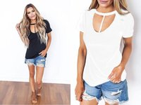 100% Cotton Scoop Neck Tee T-Shirts для женщин Sexy Cross Cut Out Front Short Tops / Black White S-XXL / Wholesale Дешевые DHL Быстрая доставка