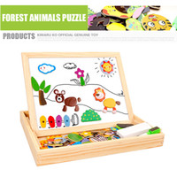 Wholesale Multifunctional Toys - Multifunctional Magnetic Wooden Puzzle Magnetic Animal Puzzle Multifunctional Writing Board toy Children random colors Educational Animals