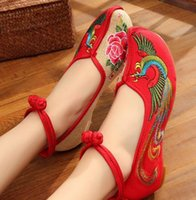 Wholesale Fabric Flower Appliques Wholesale - hot selling chinese style women flat shoes flower eimbory buckle casual shoes black beige red cloth walking shoes